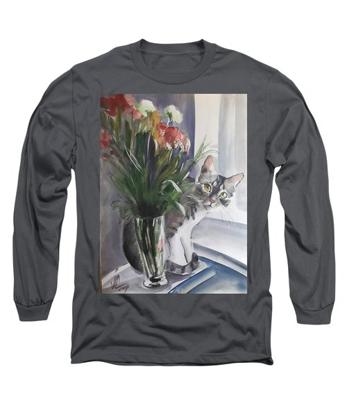 Do You See Me? Pet Portrait In Watercolor .modern Cat Art With Flowers  Long Sleeve T-Shirt