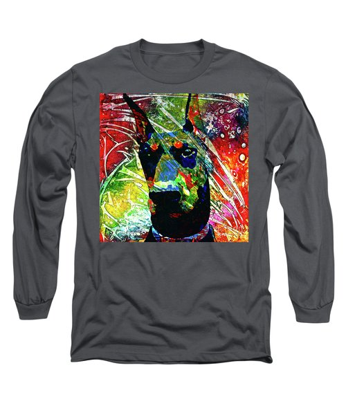 Doberman Custom Portrait Long Sleeve T-Shirt