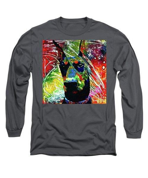 Doberman Custom Portrait Long Sleeve T-Shirt