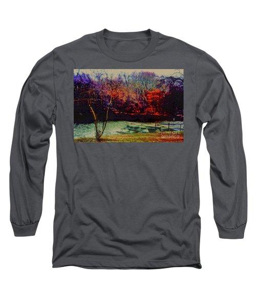 Dock At Central Park Long Sleeve T-Shirt by Sandy Moulder