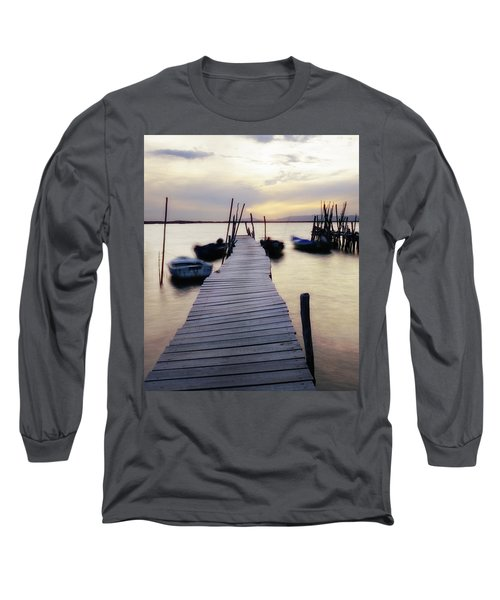 Dock At Sunset Long Sleeve T-Shirt by Marion McCristall
