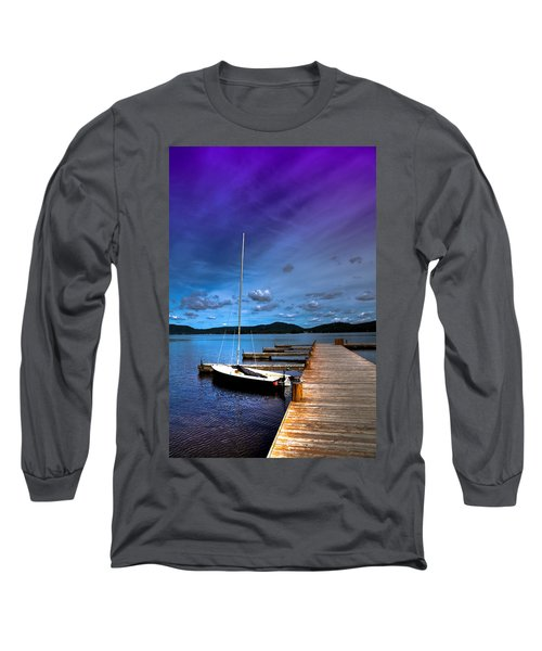 Docked On Fourth Lake Long Sleeve T-Shirt by David Patterson