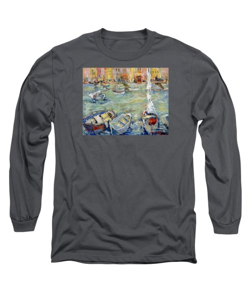 Docking In Cassis Long Sleeve T-Shirt by Sharon Furner