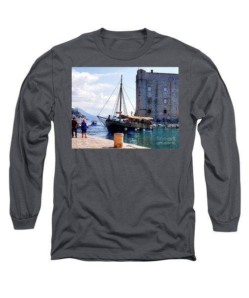 Docking In Dubrovnik Harbour Long Sleeve T-Shirt