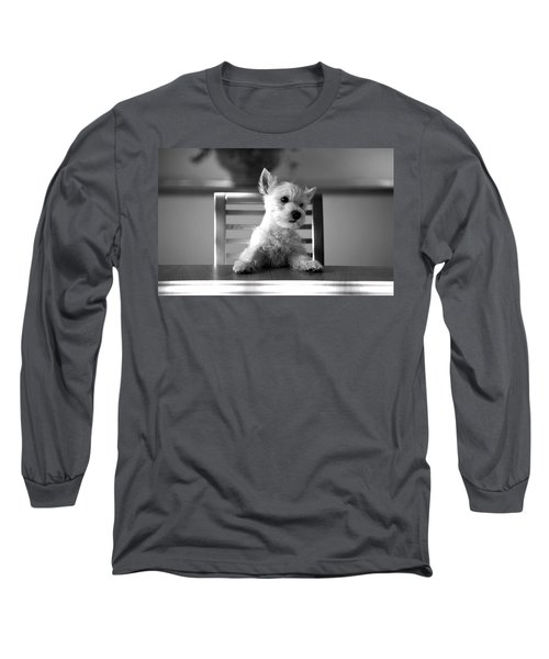 Dog Sitting On The Table Long Sleeve T-Shirt