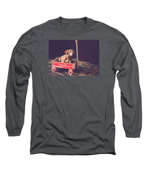 Doggy In A Wagon Long Sleeve T-Shirt by Teresa Blanton