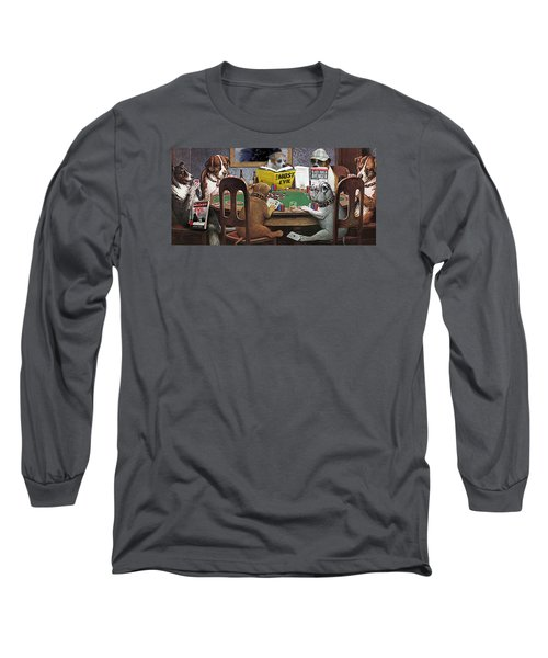 Dogs Playing Poker And Reading Steve Hodel Long Sleeve T-Shirt