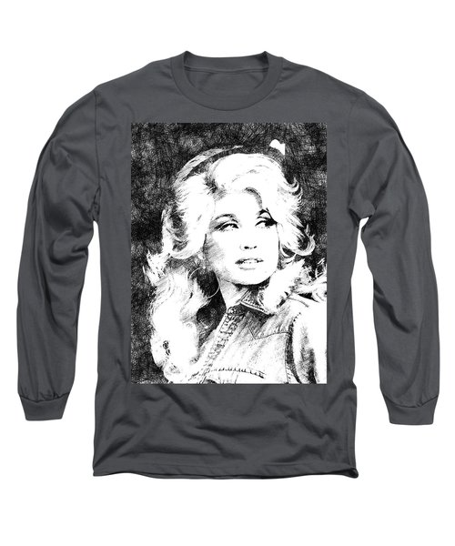 Dolly Parton Bw Portrait Long Sleeve T-Shirt by Mihaela Pater