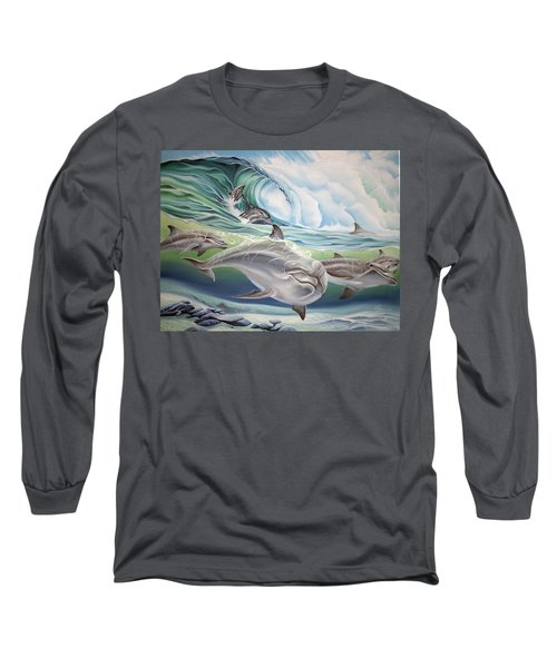 Dolphin 2 Long Sleeve T-Shirt by William Love