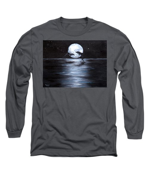 Dolphins Dancing Full Moon Long Sleeve T-Shirt by Bernadette Krupa