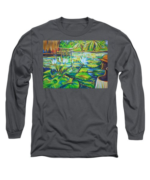 Long Sleeve T-Shirt featuring the painting Dominicana by Anna  Duyunova