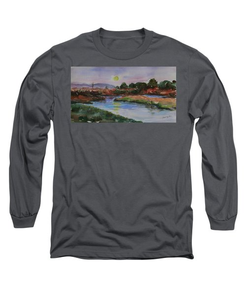 Long Sleeve T-Shirt featuring the painting Don Edwards San Francisco Bay National Wildlife Refuge Landscape 1 by Xueling Zou