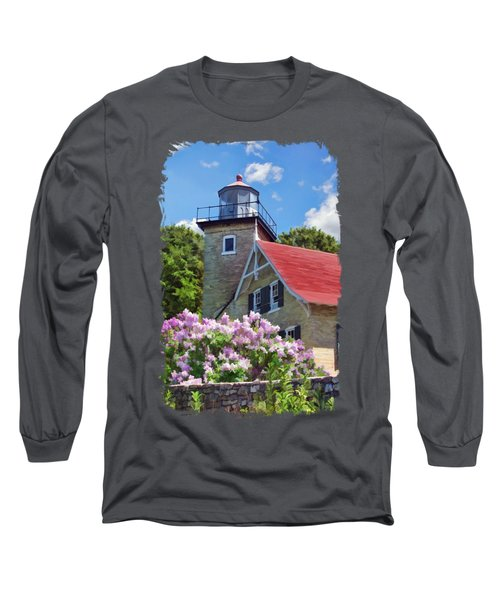 Long Sleeve T-Shirt featuring the painting Door County Eagle Bluff Lighthouse Lilacs by Christopher Arndt