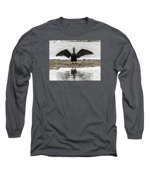 Double Crested Cormorant Portrait Flapping Wings Long Sleeve T-Shirt