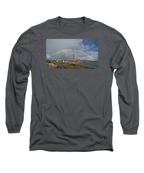 Long Sleeve T-Shirt featuring the photograph Double Rainbow Golden Gate Bridge by Steve Siri
