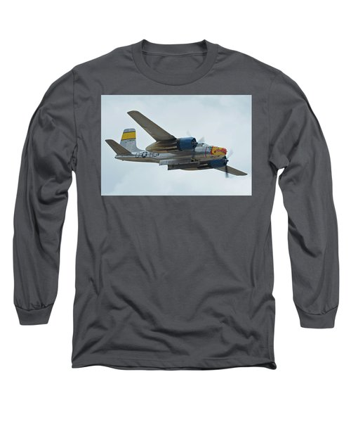 Long Sleeve T-Shirt featuring the photograph Douglas A-26b Invader Nl99420 Silver Dragon Chino California April 30 2016 by Brian Lockett