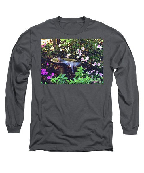 Long Sleeve T-Shirt featuring the photograph Dove In Flight by Debra Crank