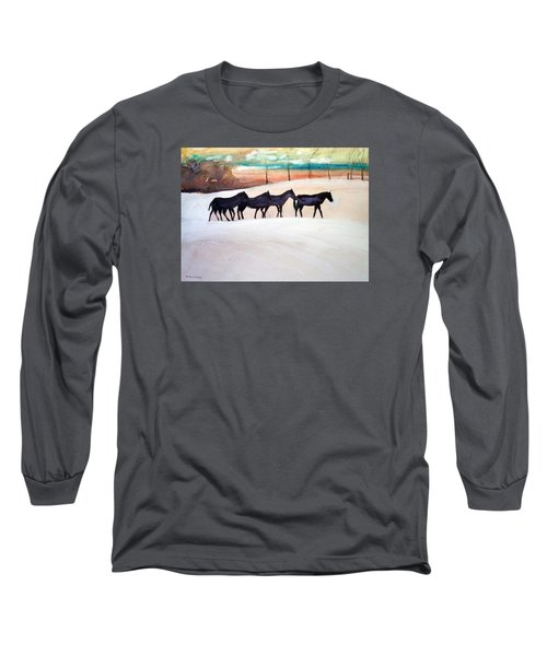 Long Sleeve T-Shirt featuring the painting Downs Stables by Ed Heaton