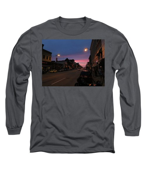 Long Sleeve T-Shirt featuring the photograph Downtown Racine At Dusk by Mark Czerniec