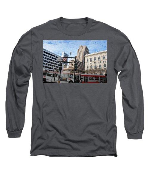 Downtown San Francisco - Market Street Buses Long Sleeve T-Shirt by Matt Harang