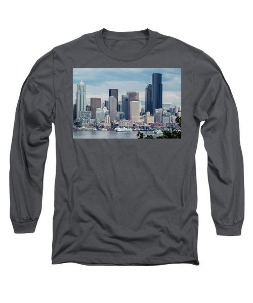 Downtown Seattle And Ferries Long Sleeve T-Shirt