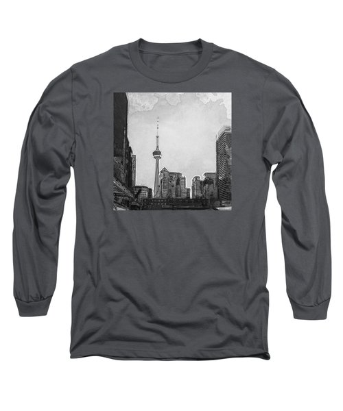 Downtown Toronto In Bw Long Sleeve T-Shirt