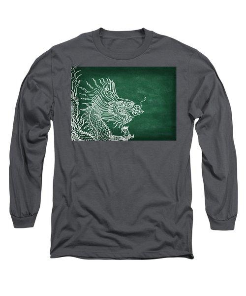 Dragon On Chalkboard Long Sleeve T-Shirt