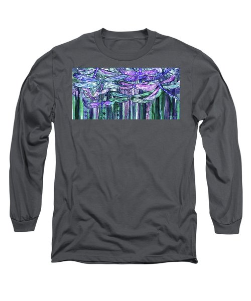 Long Sleeve T-Shirt featuring the mixed media Dragonfly Bloomies 4 - Lavender Teal by Carol Cavalaris