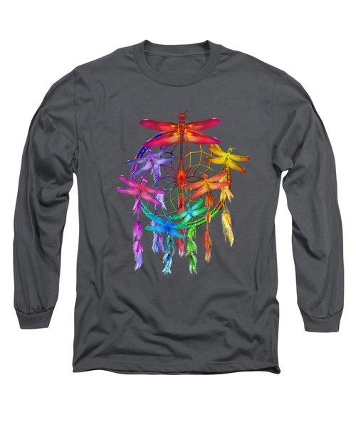 Long Sleeve T-Shirt featuring the mixed media Dragonfly Dreams by Carol Cavalaris