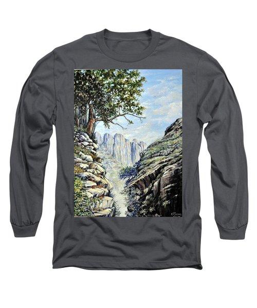 Long Sleeve T-Shirt featuring the painting Drakensberg by Heidi Kriel