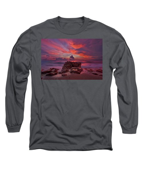 Long Sleeve T-Shirt featuring the photograph Dramatic Sunrise Over Coral Cove Beach In Jupiter Florida by Justin Kelefas