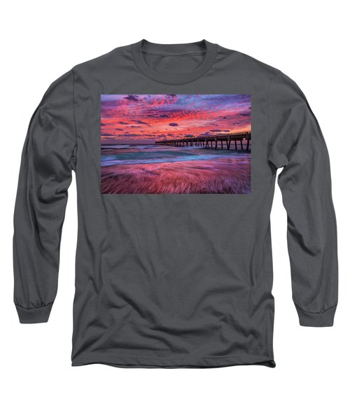 Dramatic Sunrise Over Juno Beach Pier, Florida Long Sleeve T-Shirt
