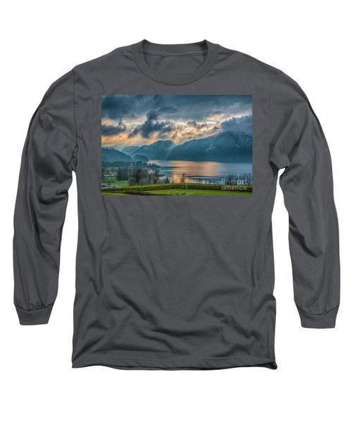Dramatic Sunset Over Mondsee, Upper Austria Long Sleeve T-Shirt by Jivko Nakev