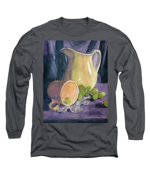 Drapes And Grapes Long Sleeve T-Shirt by Lynne Reichhart