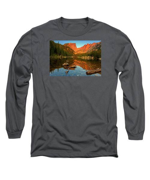 Dream Lake Sunrise Long Sleeve T-Shirt by John Vose
