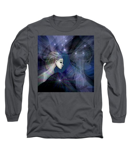 Long Sleeve T-Shirt featuring the digital art 1101 - Dream Voyage - 2017 by Irmgard Schoendorf Welch