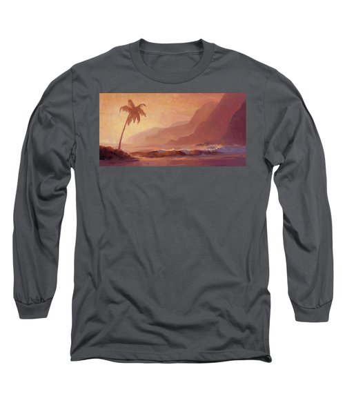Long Sleeve T-Shirt featuring the painting Dreams Of Hawaii - Tropical Beach Sunset Paradise Landscape Painting by Karen Whitworth