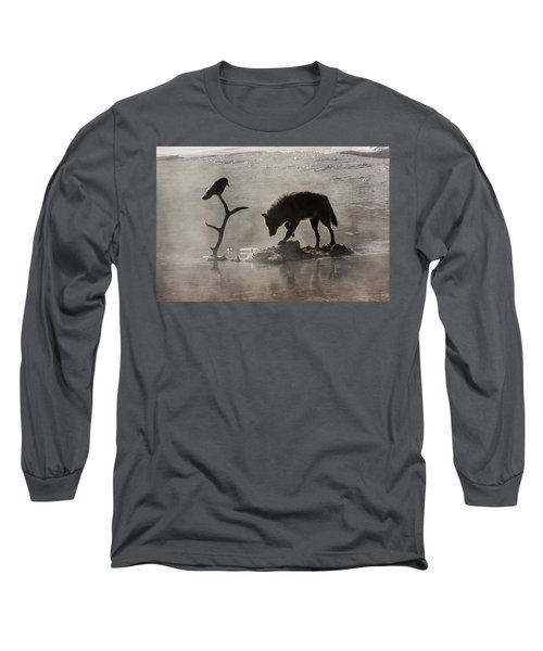 Druid Wolf And Raven Silhouette Long Sleeve T-Shirt