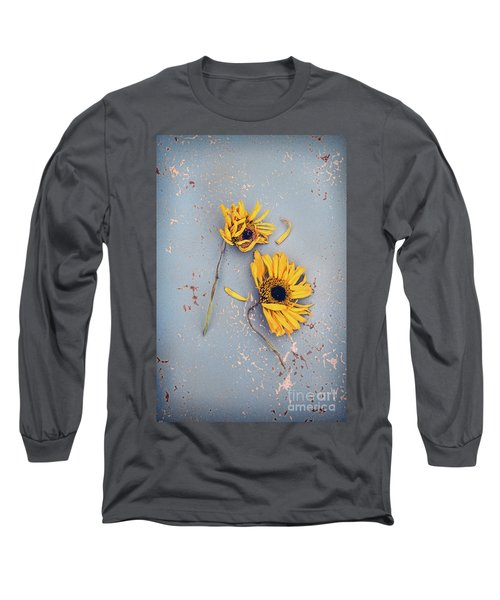 Long Sleeve T-Shirt featuring the photograph Dry Sunflowers On Blue by Jill Battaglia