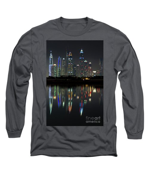 Dubai City Skyline Nighttime  Long Sleeve T-Shirt