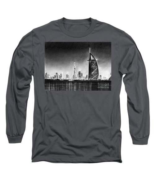 Dubai Cityscape Drawing Long Sleeve T-Shirt