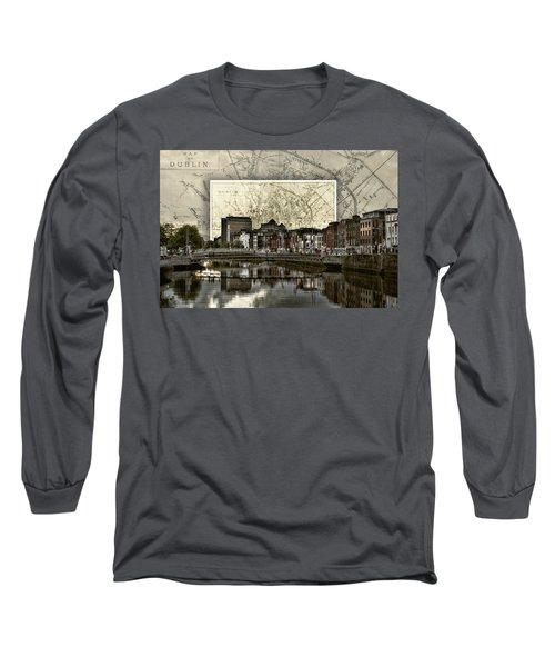 Dublin Skyline Mapped Long Sleeve T-Shirt