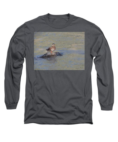 Duck Alone On The Rock Long Sleeve T-Shirt