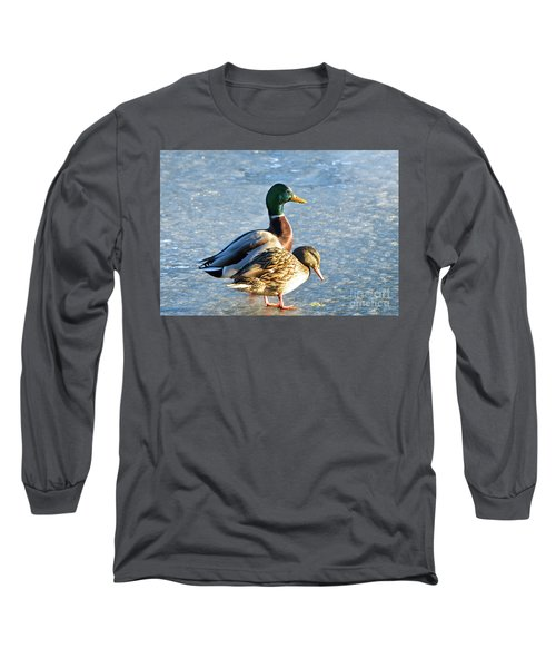 Duck Pair On Frozen Lake Long Sleeve T-Shirt