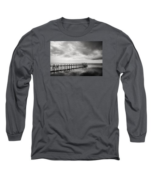 Duck Pier In Black And White Long Sleeve T-Shirt
