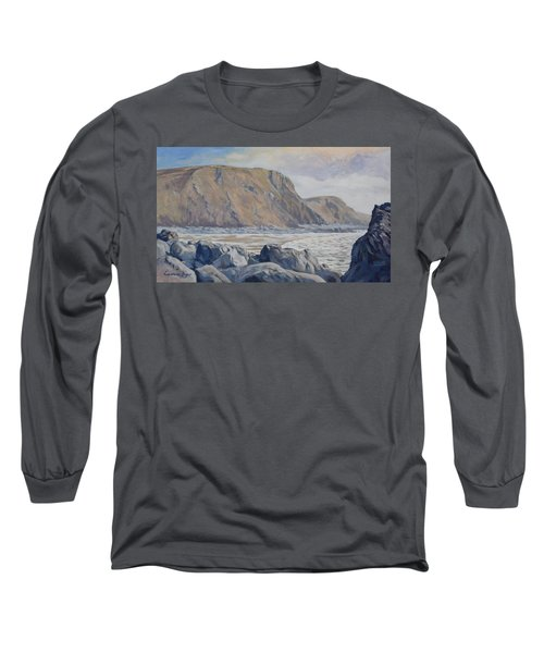 Long Sleeve T-Shirt featuring the painting Duckpool Boulders by Lawrence Dyer