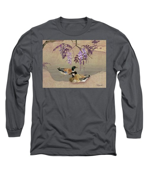 Ducks Under Wisteria Tree Long Sleeve T-Shirt