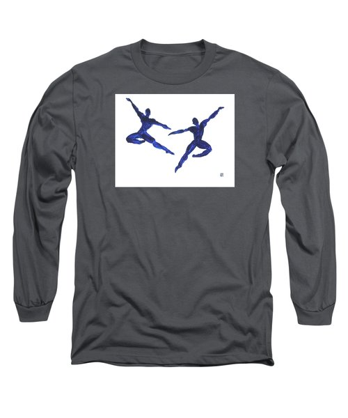 Long Sleeve T-Shirt featuring the painting Duo Leap Blue by Shungaboy X