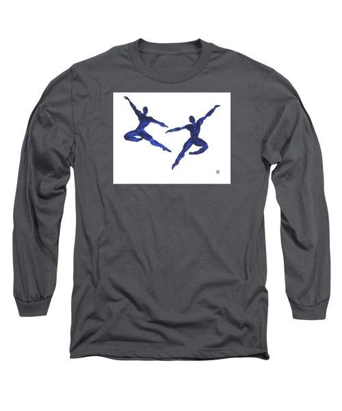 Duo Leap Blue Long Sleeve T-Shirt by Shungaboy X