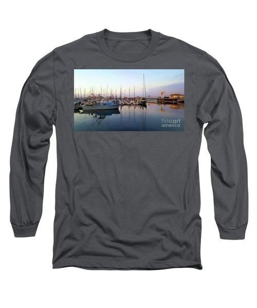 Dusk At Old Fisherman's Wharf Long Sleeve T-Shirt by Gina Savage